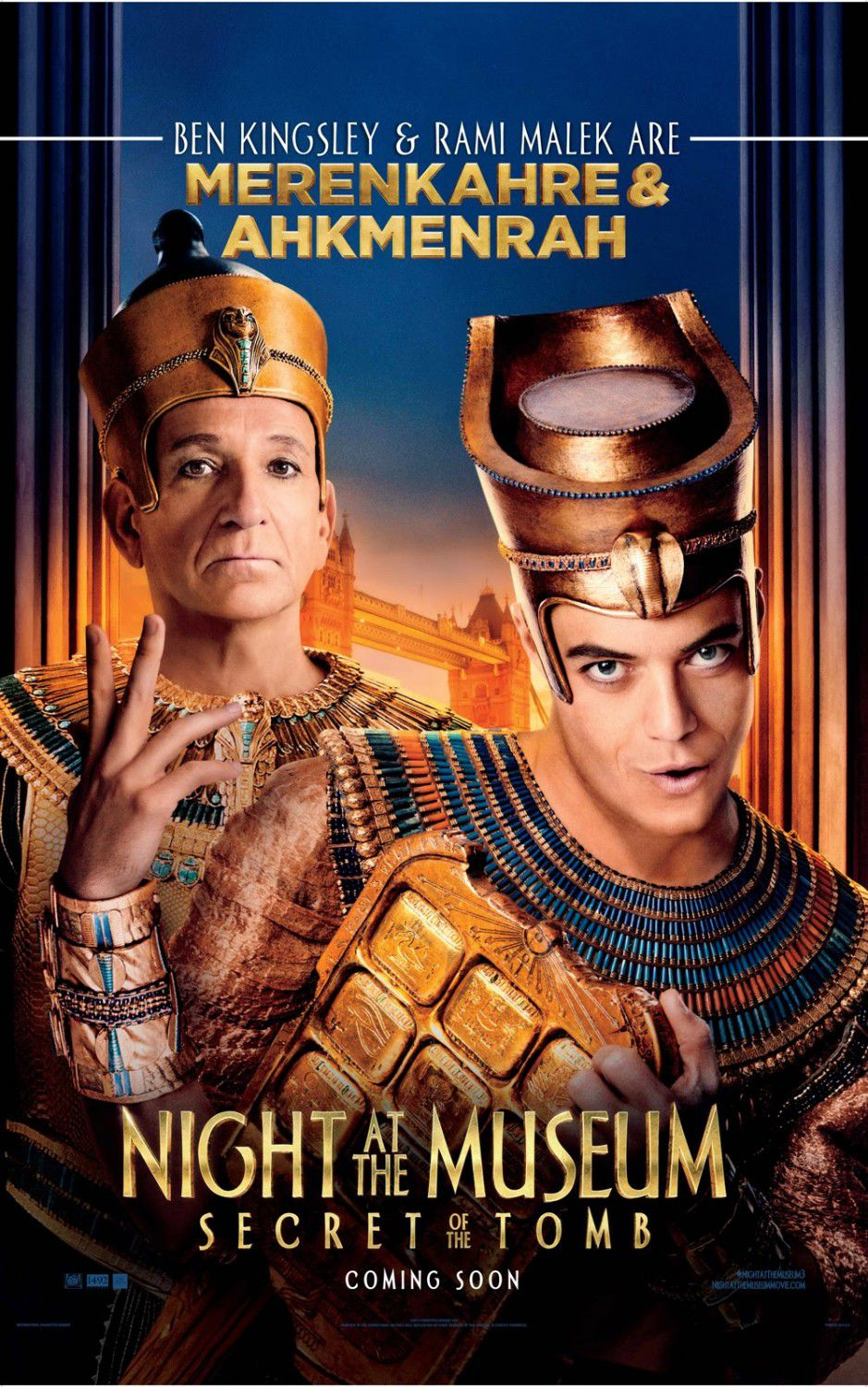 Una Notte al Museo 3 - Night at the Museum 3 - Secret of the Tomb - poster - Merenkahre (Ben Kingsley) and Ahkmenrah (Rami Malek Are)
