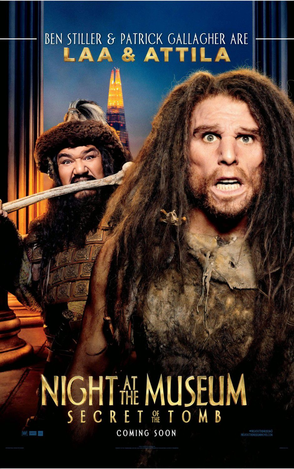 Una Notte al Museo 3 - Night at the Museum 3 - Secret of the Tomb - poster - Laa (Ben Stiller) and Attila (Patrick Gallagher)