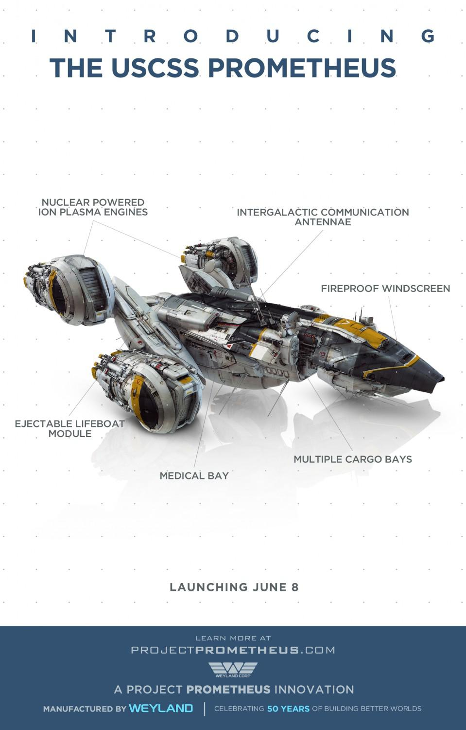 Prometheus - alien universe - film poster - introducing the USCSS ion plasma engines - flyer