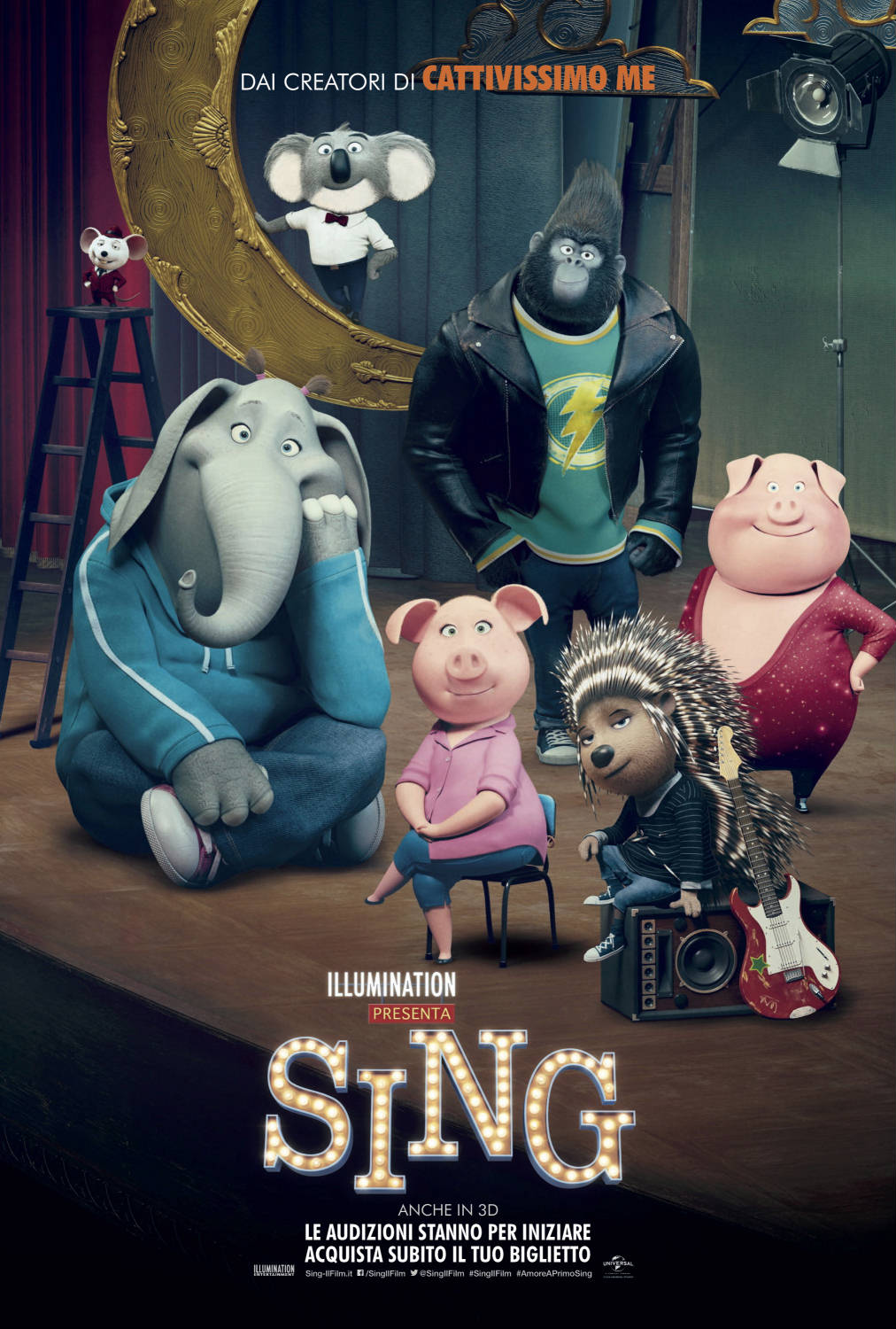 Sing - animazione Illumination - Contest - Buster Moon koala - Miss Karen Crawly lucertola - Gunter - Rosita - Ash - Mike - Johnny - Nana - cartone animato 2016 cult funny special