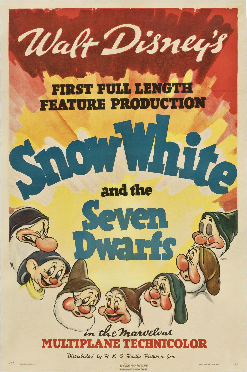 Biancaneve e i 7 Nani - Snow White and the Seven Dwarfs - Blancanieves - Blanche-Neige - Schneewittchen - Disney - old animated movie poster