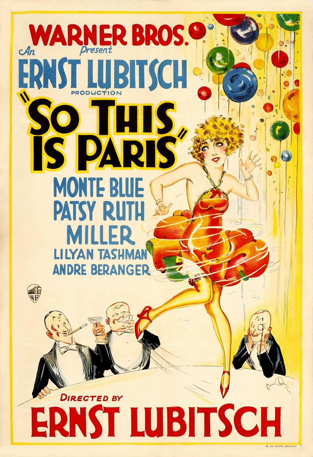 Film old Warner Bros poster - So this is Paris - 1926 - An Ernst Lubitsch production So this is Paris - Monte Blue - Patsy Ruth Miller - Lilyan Tashman - Andre Beranger