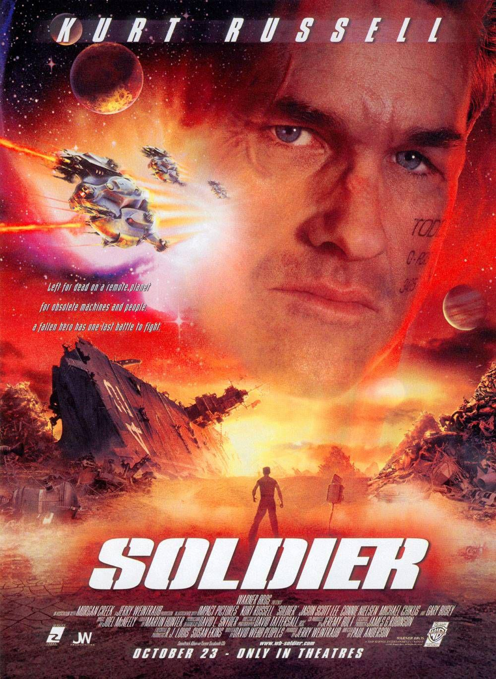 Soldier - film poster - Kurt Russell ... left for dead on a remote planet for obsolete machines and people, a fallen hero has one last battle to fight