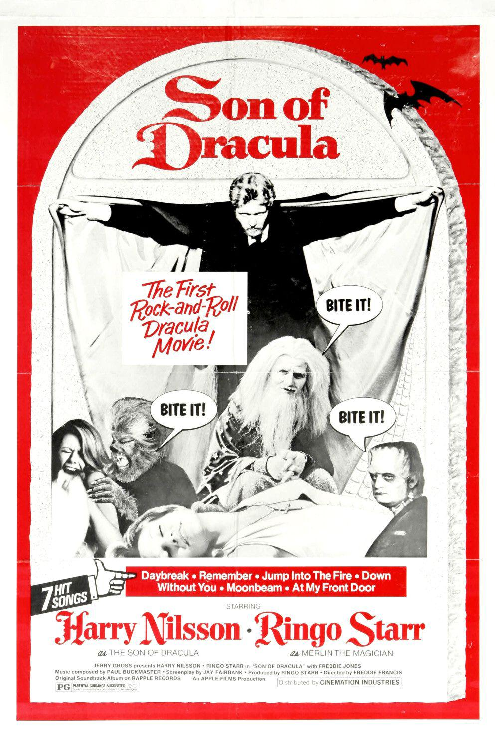 Son of Dracula ... the first Rock-and-Roll Drakula movie - Daybreak - Remember - Jump into the Fire - Down - Without You - Moonbeam - at my front Door - starring Harry Nilsson - Ringo Star - Freddia Jones - old cult musical film poster