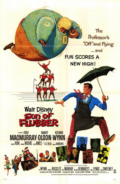 Son of Flubber - Un Professore a tuttogas - Walt Disney classic movie film poster - Fred MacMurray - Nancy Olson - Keenan Wynn