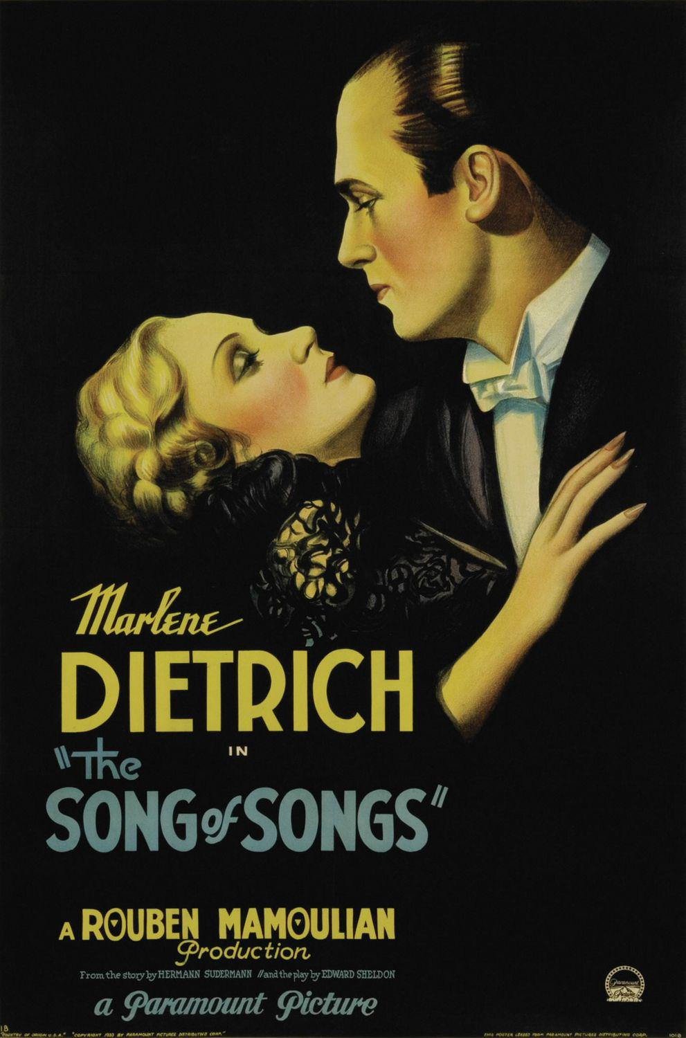 Song of Songs - old classic cult film poster - Marlene Dietrich - Rouben Mamoulian production from the story of Hermann Sudermann