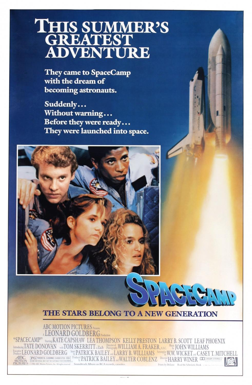 Spacecamp - This Summer's greatest Adventure. They came to SpaceCamp with the Dream of becoming Astronauts. Suddenly, without warning, before they were ready, they were launched into space. - Kate Capshaw - Lea Thompson - Kelly Preston - Larry B. Scott - Leaf Phoenix