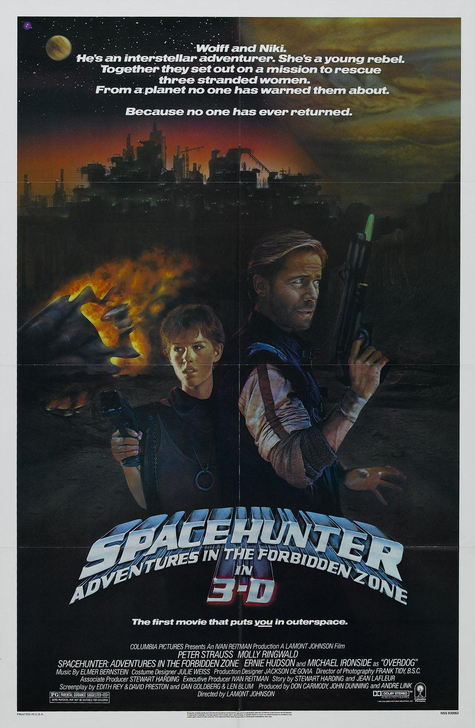 Spacehunter - poster - Adventures in the forbidden zone. Wolff and Niki. He's an interstellar adventurer. She's a young rebel. Together they set out on a Mission to rescue three stranded women. From a Planet no one has warned them about. Because no one has ever returned. Peter Strauss - Molly Ringwald - Ernie Hudson and Michael Ironside as Overdog