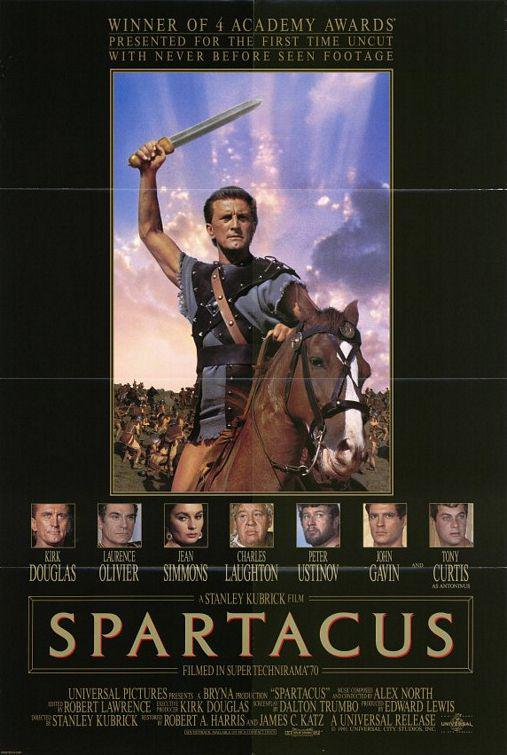 Spartacus - old classic cult film poster - Kirk Douglas - Lawrence Oliver - Jean Simmons - Charles Laughton - Peter Usinov - Ken Gavin - Tony Curtis - a Stanley Kubrick film