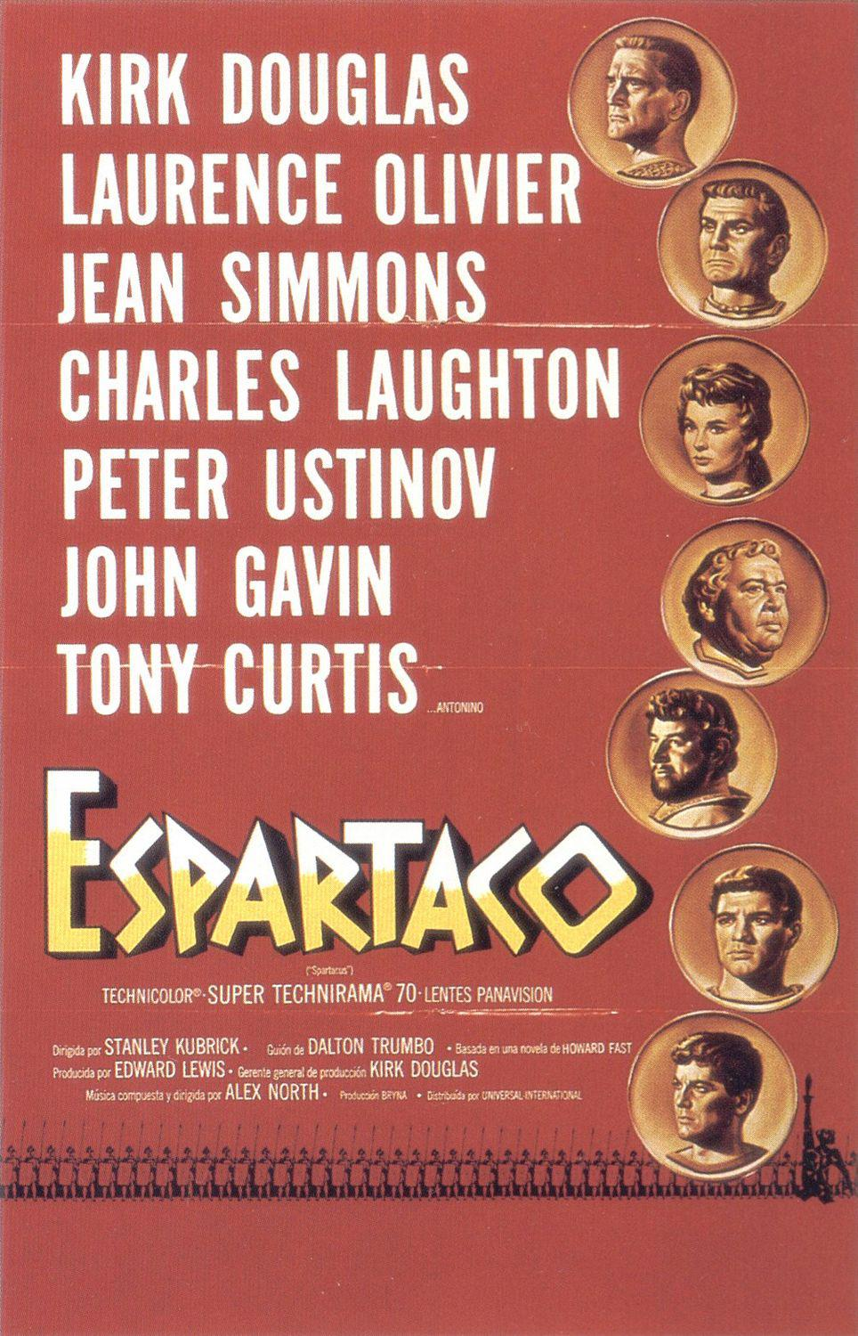 Spartacus - Espartaco - old classic cult film poster - Kirk Douglas - Lawrence Oliver - Jean Simmons - Charles Laughton - Peter Usinov - Ken Gavin - Tony Curtis - a Stanley Kubrick film