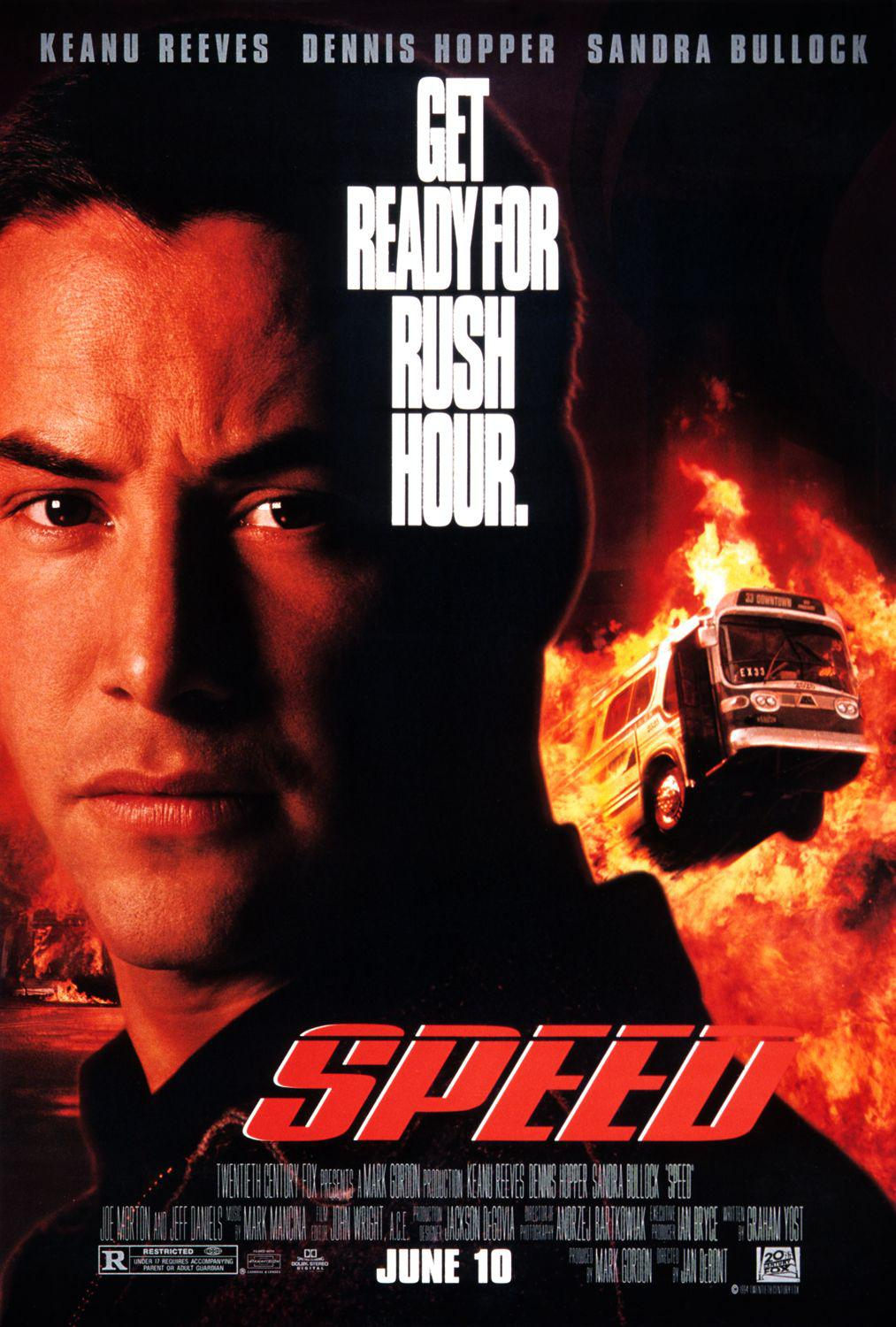 Speed - Get ready for rush hour - Keanu Reeves - Dennis Hopper - Sandra Bullock - film poster