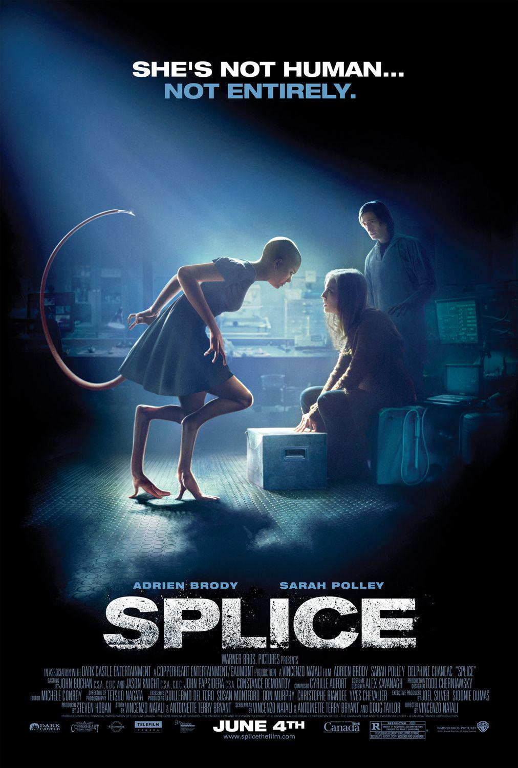 Splice - she's not human, not entirely - Adrien Brody - Sarah Polley Delphine Chaneac - film horror scifi science fisction fantascienza poster