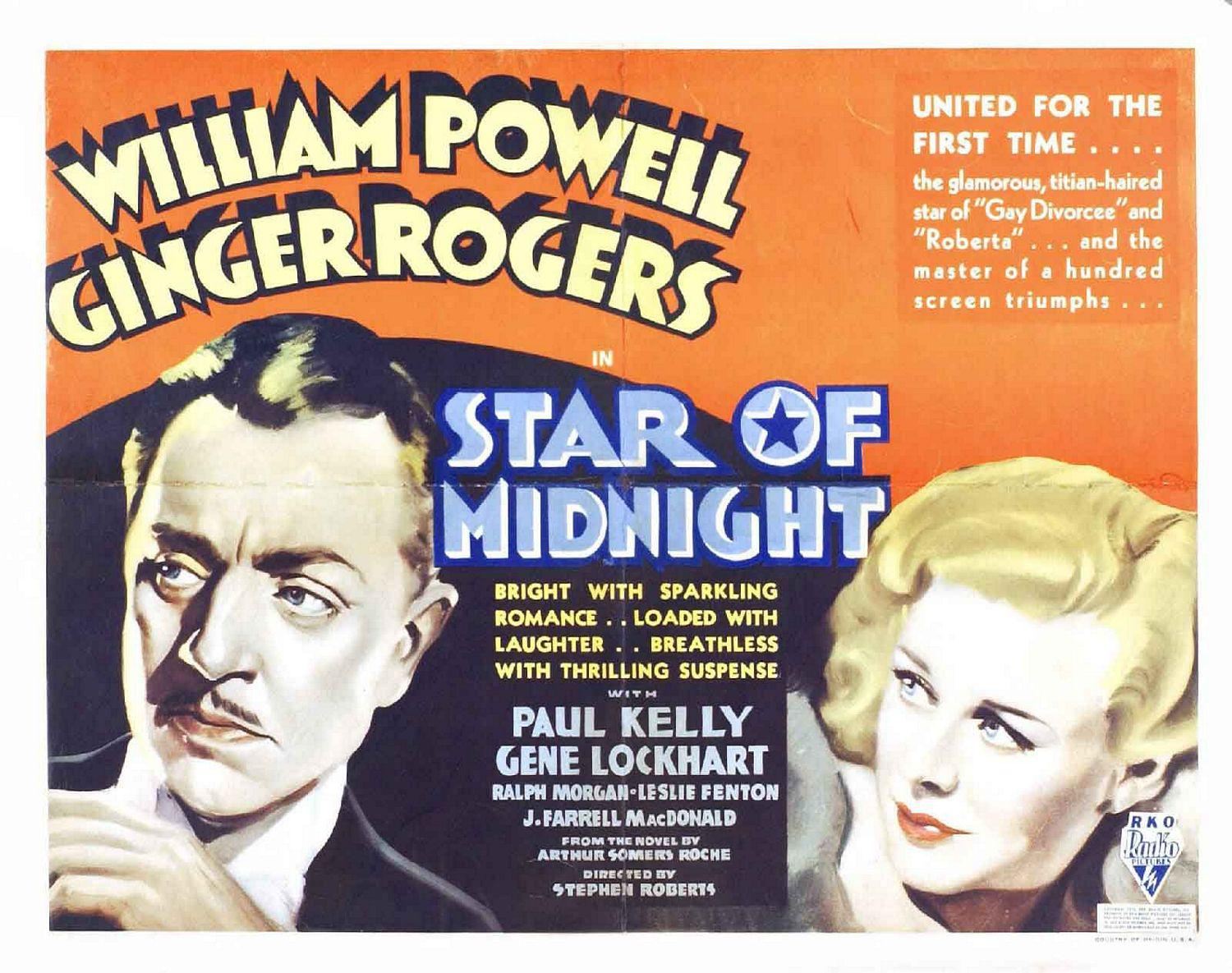 Star of Midnight - old classic film poster - William Powell - Ginger Rogers - Paul Kelly - Gene Lockhart - Ralph Morgan - Leslie Fenton - J. Farrell MacDonald