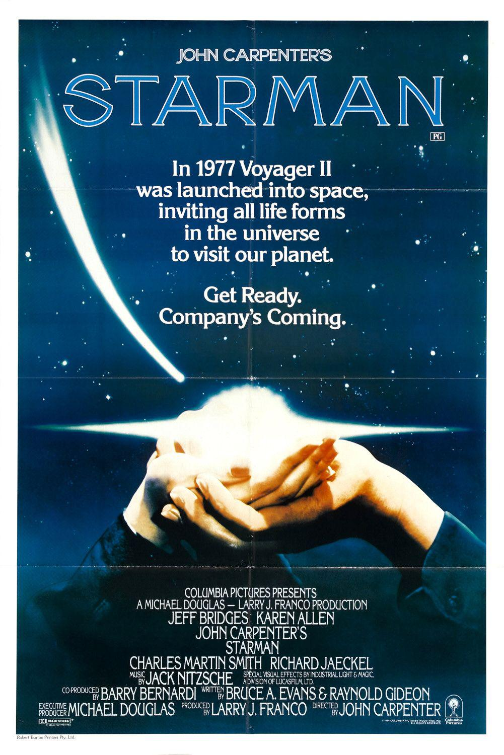 John Carpenter's film - Starman - In 1977 Voyager II was lauched into space, inviting all life forms in the universe to visit our planet. Get ready. Company's coming. - Jeff Bridge - Karen Allen - Charles Martin Smith - Richard Jaeckel - 80s classic culti scifi film poster