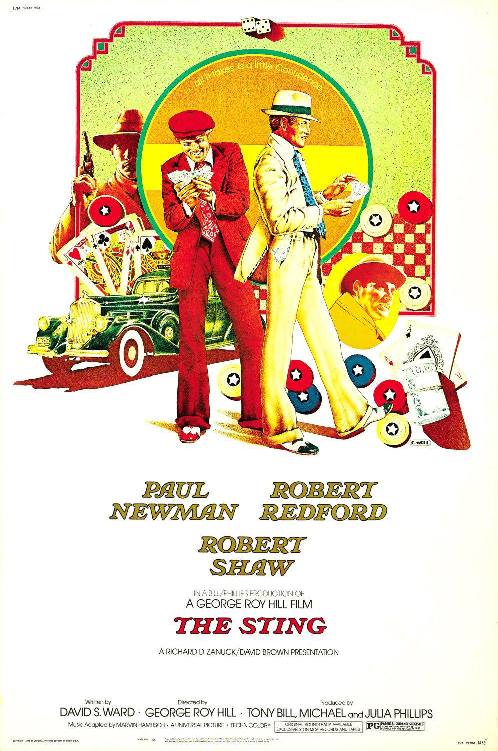 The Sting ... Paul Newman - Robert Redford - Robert Shaw - film old classic poster