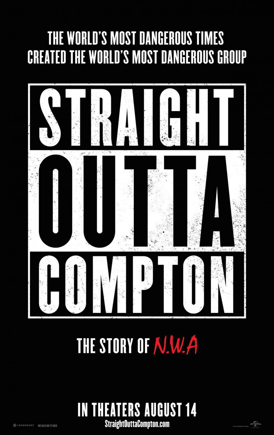 Straight outta Compton - film music poster - the world's most dangerous times created the world's most dangerous group