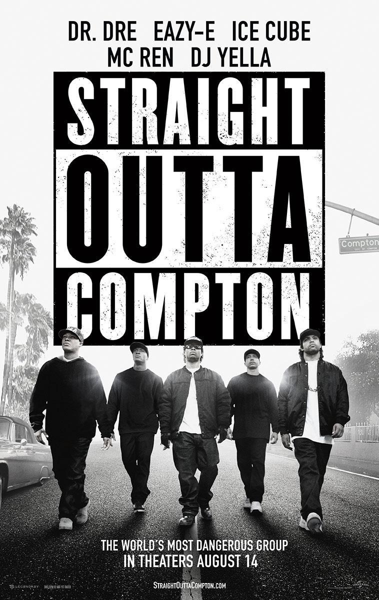 Straight outta Compton - Dr. Dre - Eazy-E - Ice Cube - Mc Ren - DJ Yella - film music poster