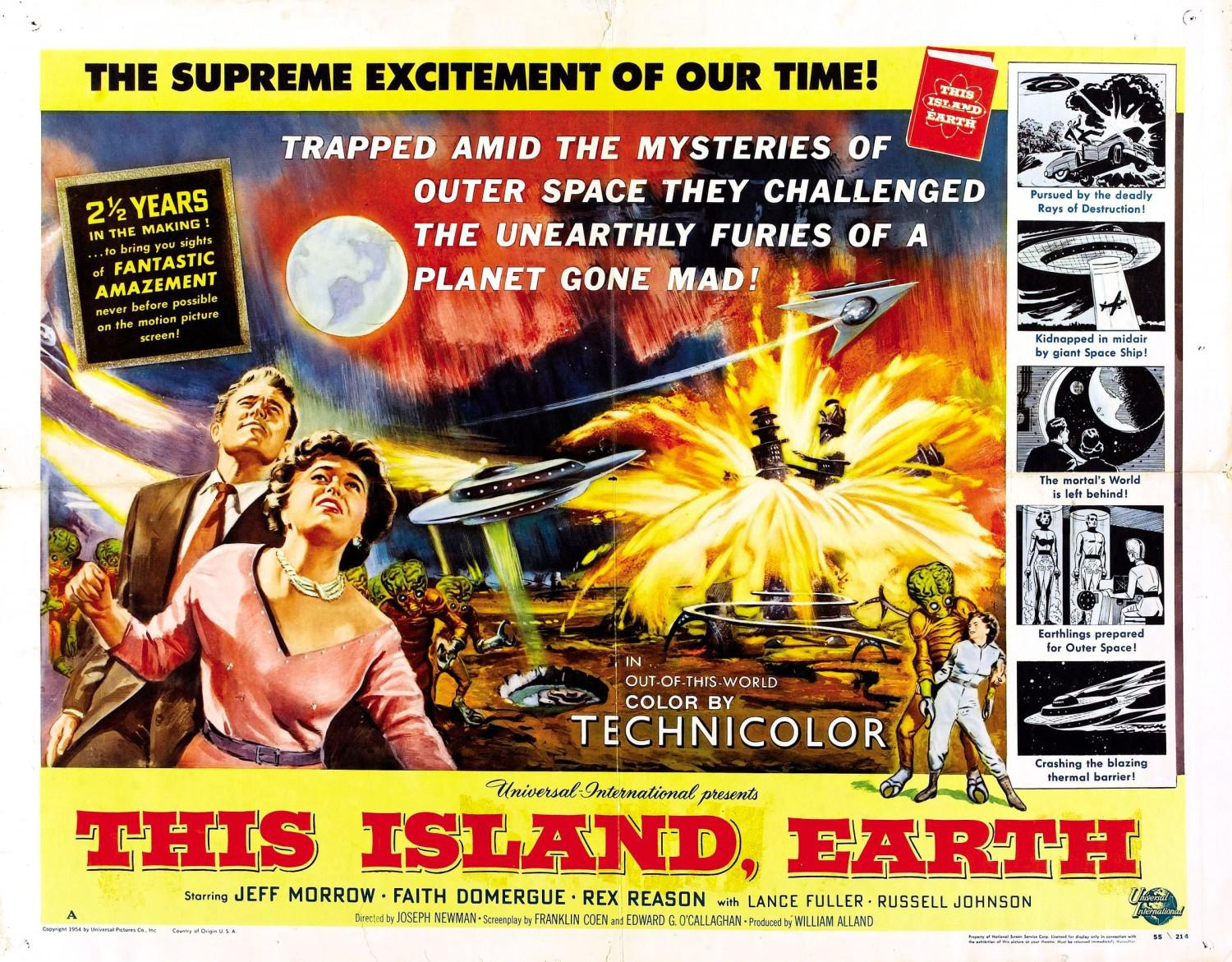 This Island Earth - Cittadino dello Spazio - Metaluna 4 - Two mortals trapped in outer space, changeling the unearthly furies of an autlaw planet gone mad - Feff Morrow - Faith Domergue - Rex Reason - old scifi film poster