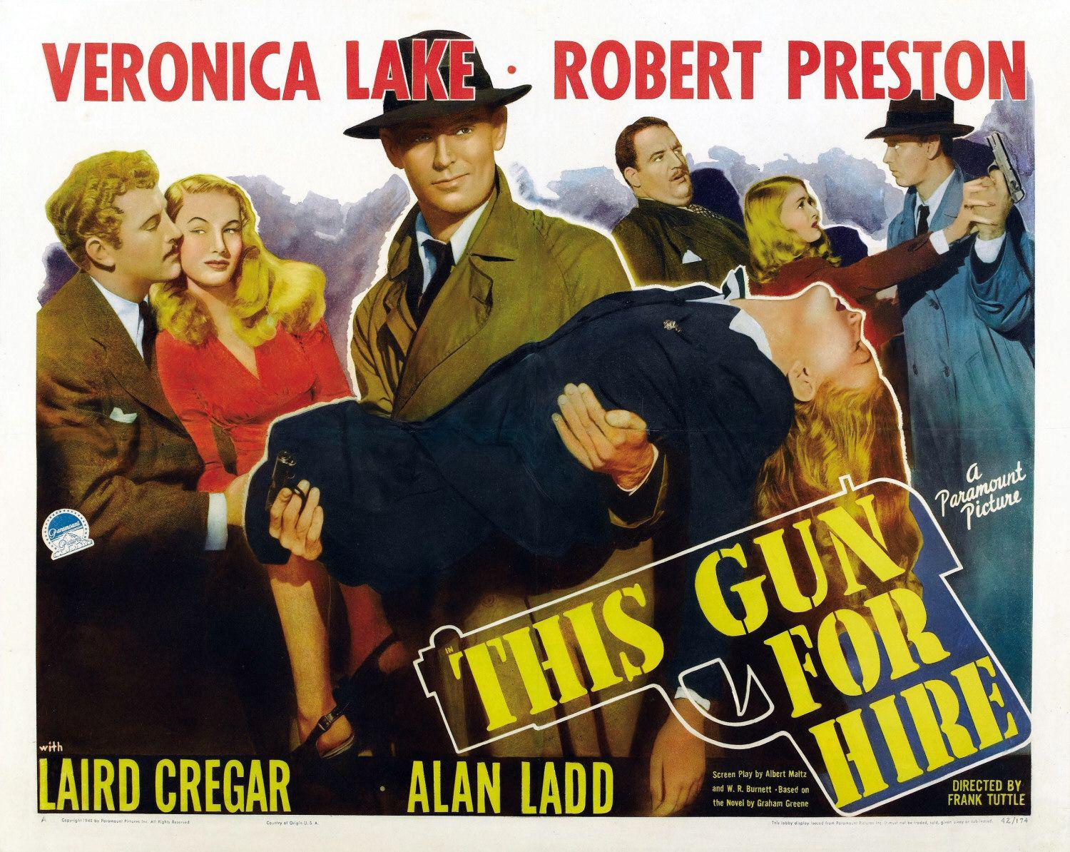 This gun for hire - Alan Ladd - Veronica Lake - old poster