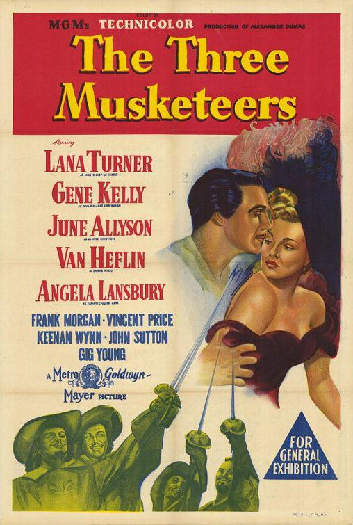 Film - Tre Moschettieri (Three Musketeers) 1948 - old classic movie psoter - Lana Turner - Gene Kelly - June Allyson - Van Heflin - Frank Morgan - Vincent Price - Keenan Wynn - John Sutton - Gig Young
