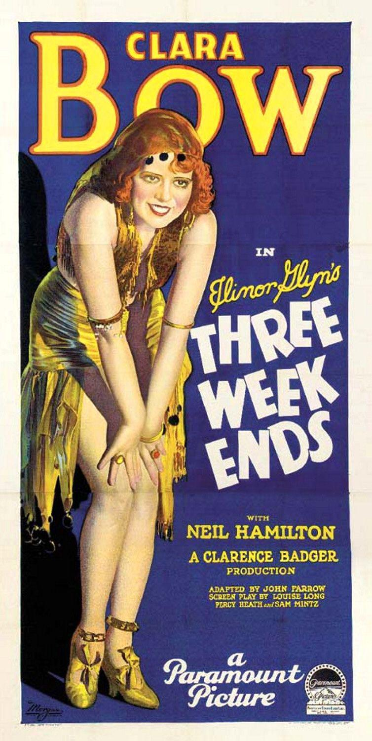 Three Weekends - Clara Bow - old poster