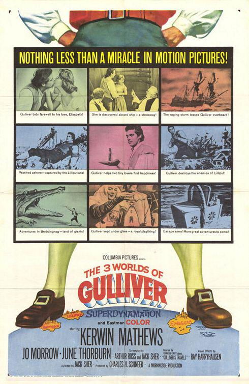 I 3 Mondi di Gulliver - Three worlds of Gulliver film del 1960 con Kerwin Mathews - old poster