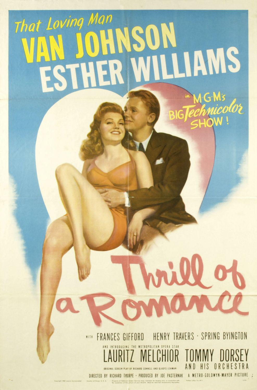 Thrill of a Romance - Van Johnson - Ester Williams - old poster - love story
