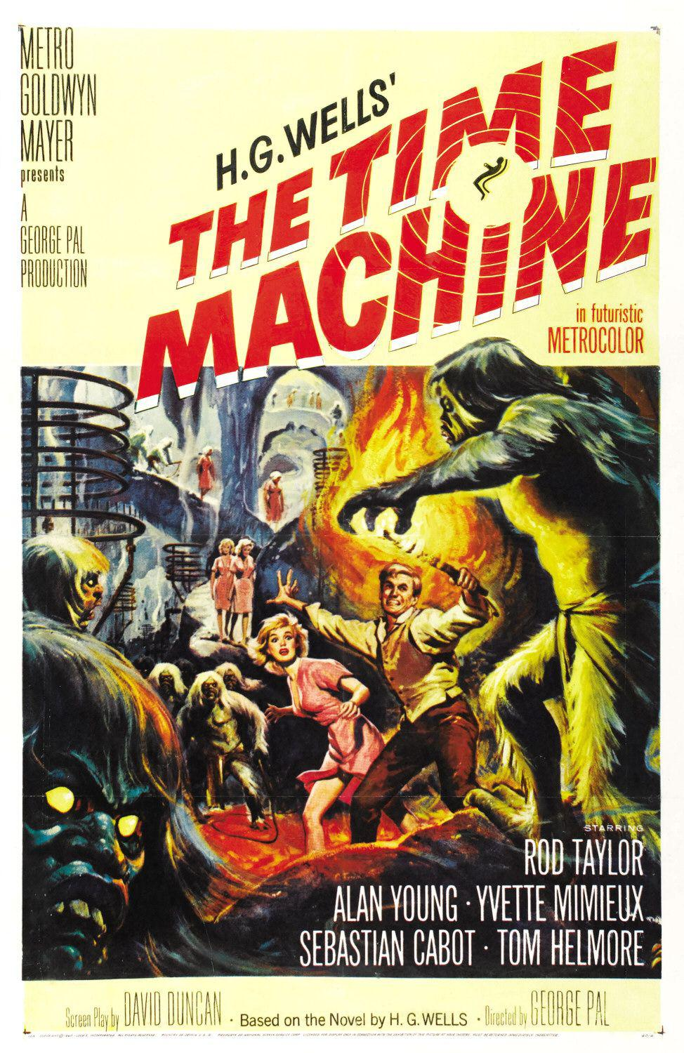 Time Machine - film del 1960 - old scifi movie poster - H.G.Wells - Rod Taylor - Alan Young - Yvette Mimieux - Sebastian Cabot - Tom Helmore