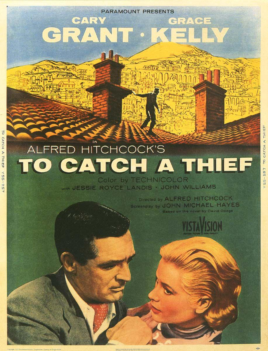 Caccia al Ladro - To Catch a Thief - Cary Grant - Grace Kelly - Alfred Hitchcock - old poster