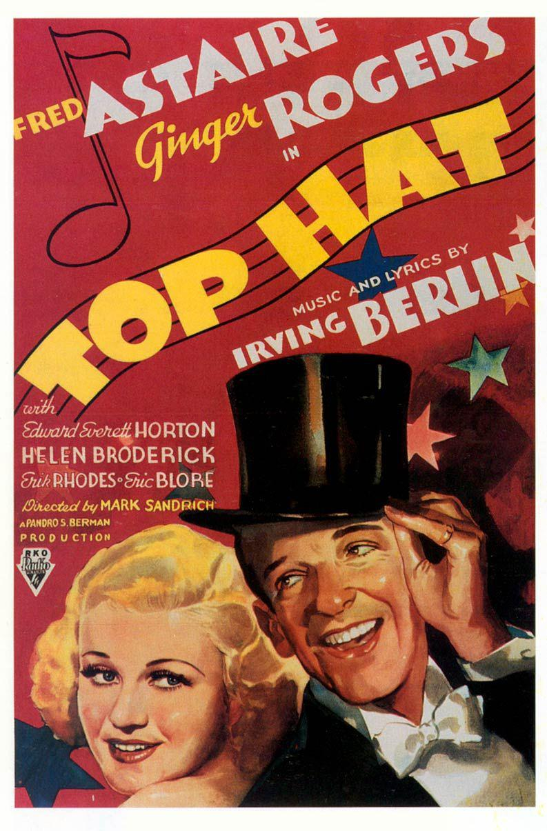 Top Hat - Fred Astaire - Ginger Rogers - old poster - dancing film - musical