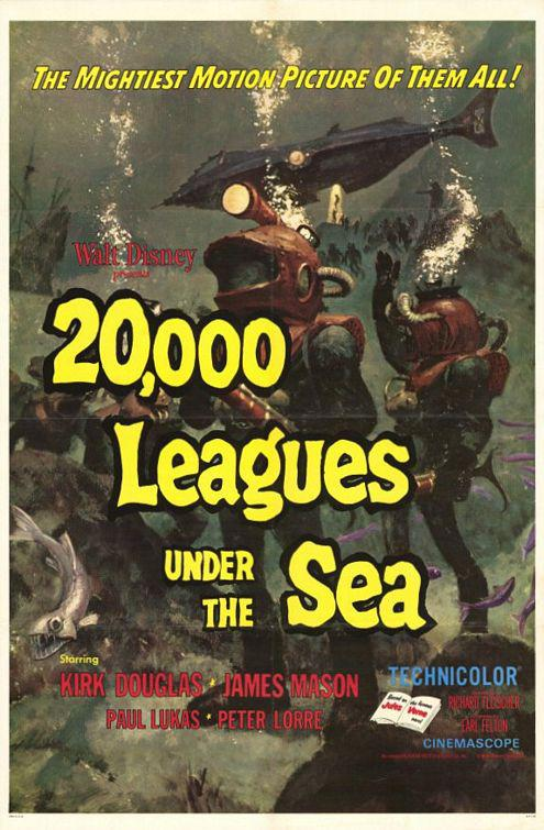 20000 Leghe sotto i Mari - Twenty thousand Leagues under the Sea - Want Disney old poster