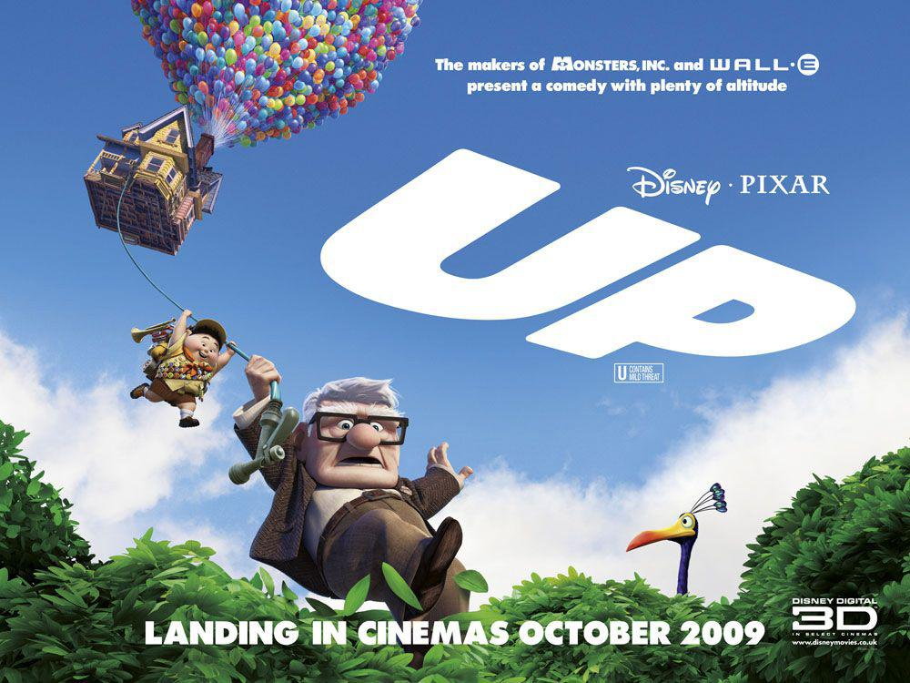 UP - Disney Pixar animated film poster - Carl Fredricksen - Russell