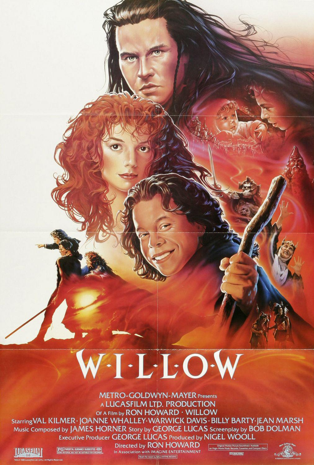 Willow - fantasy film poster - Lucas Film by Ron Howard - Val Kilmer - Joanne Whalley - Warwick Davis - Billy Barty - Jean Marsh