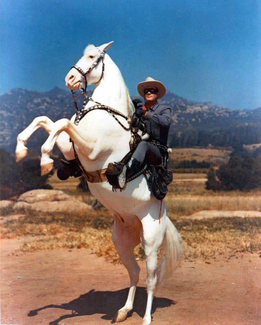 The Lone Ranger - TV series 1949–1957 classic cult western adventure - Silver Horse rearing