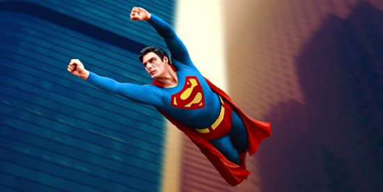 Christopher Reeve is flying Superman