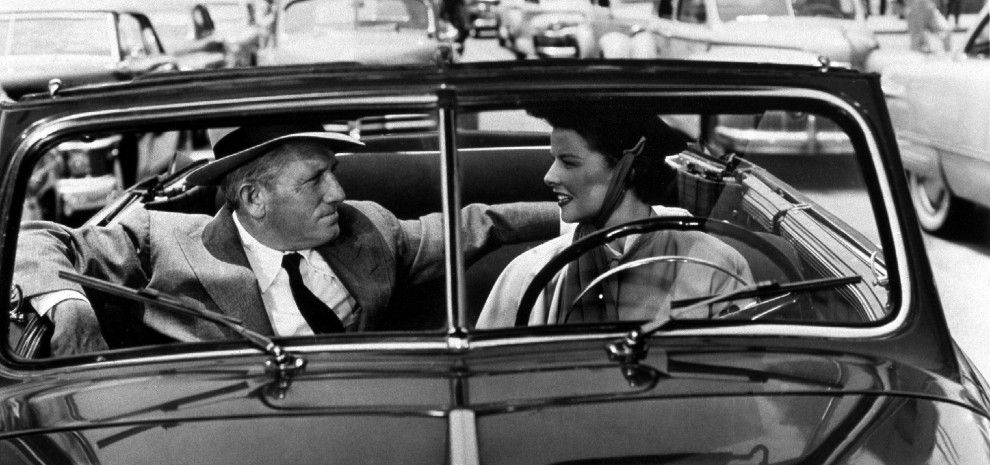 Spencer Tracy - Katharine Hepburn - old classic car
