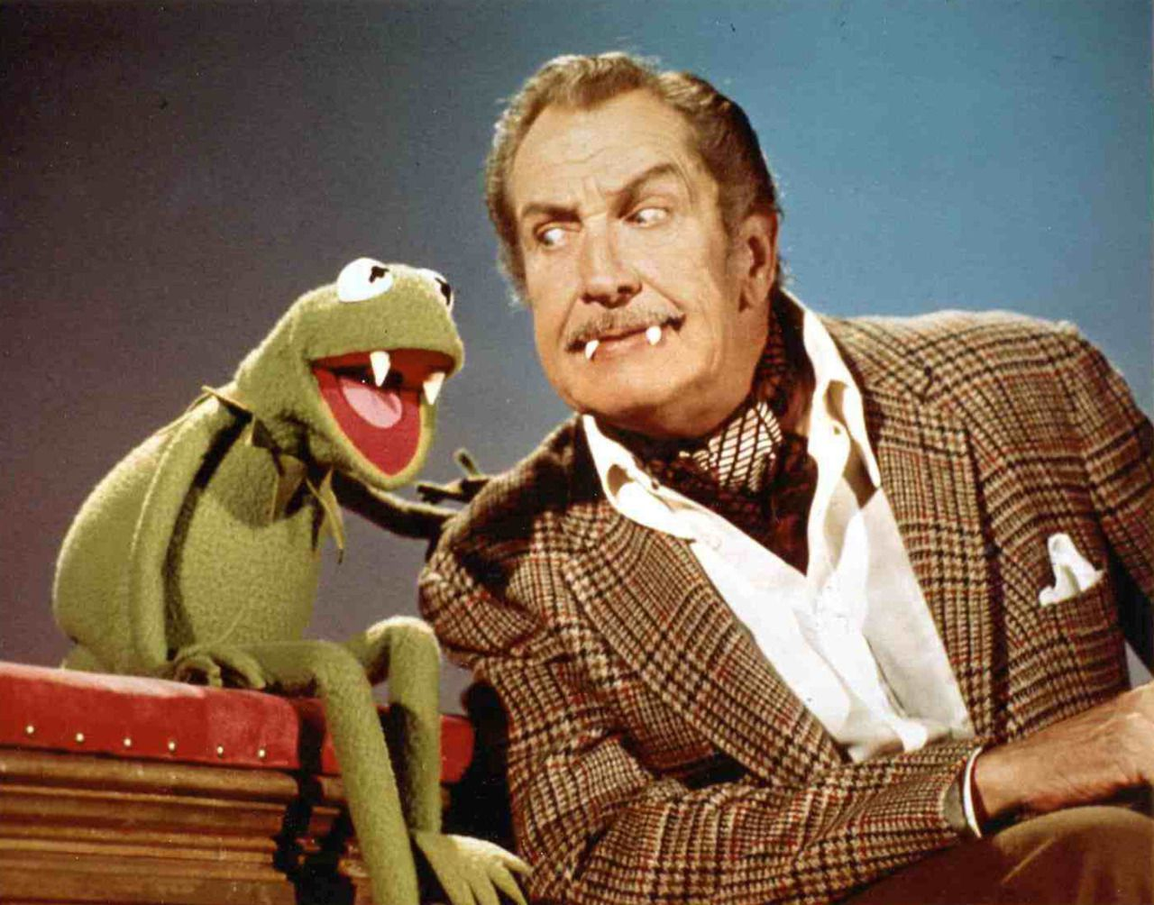 Vincent Price with Kermit Muppets